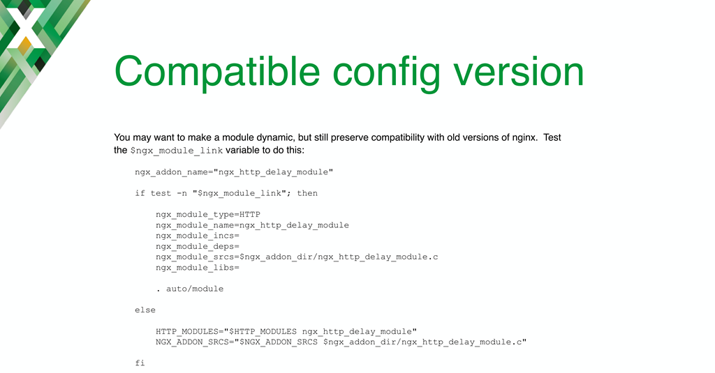 The ngx_module_link variable in the 'auto/module' script for loading NGINX dynamic modules enables compatibility between NGINX versions