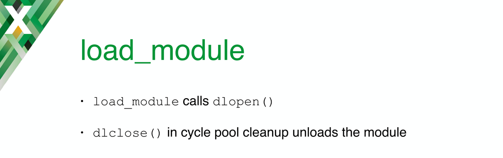 When NGINX reads in its configuration, the load_module directive calls dlopen(); it calls dlclose() when the configuration is freed