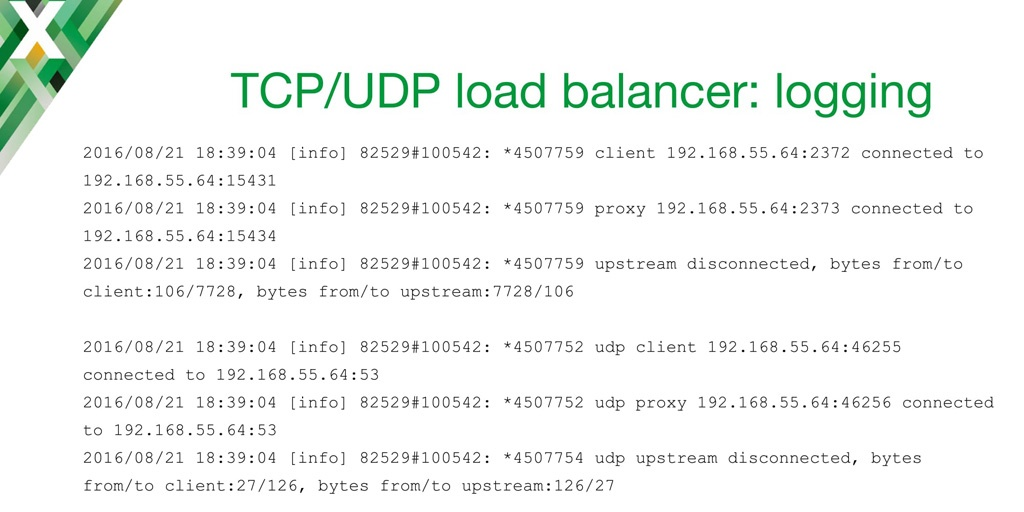 Sample access log entries from TCP load balancing and UDP load balancing using NGINX