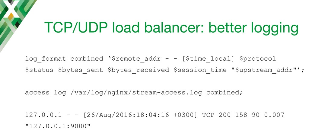 NGINX configuration code for creating entries in the access log on an NGINX TCP load balancer