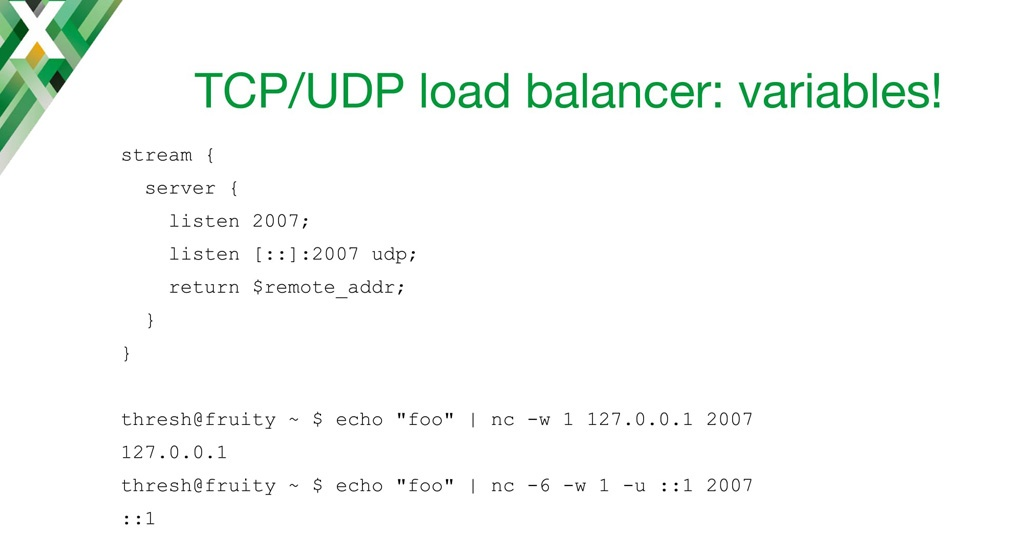 NGINX configuration code for using variables with the NGINX TCP load balancer and UDP load balancer