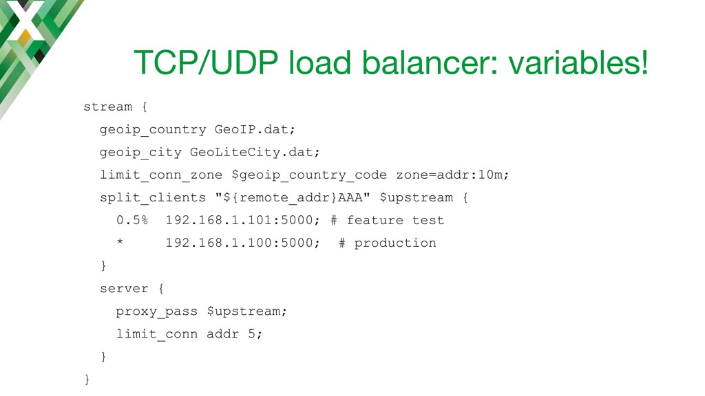 NGINX configuration code for using the variables generated by Stream GeoIP module with the NGINX TCP load balancer