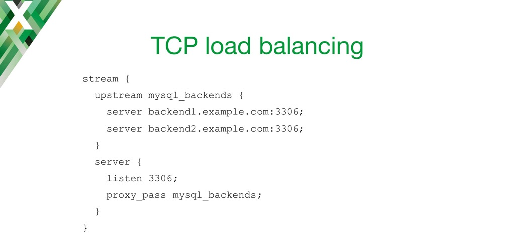Configuration code for NGINX as a TCP load balancer