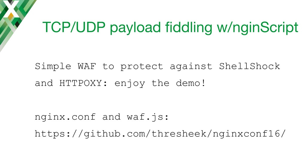 Slide introducing a demo of nginScript to change the payload of a TCP request on an NGINX host acting as a TCP load balancer and UDP load balancer
