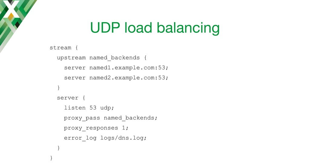 Configuration code for NGINX as a UDP load balancer
