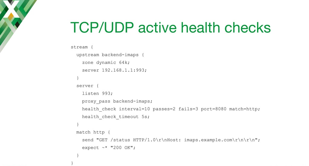 NGINX configuration code for implementing active health checks to an IMAP server with TCP load balancing