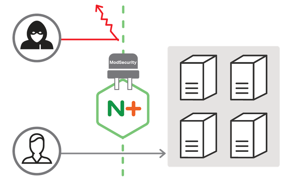 The ModSecurity web application firewall for NGINX Plus plugs in to improve web application security by mitigating DDoS attacks and other security threats.