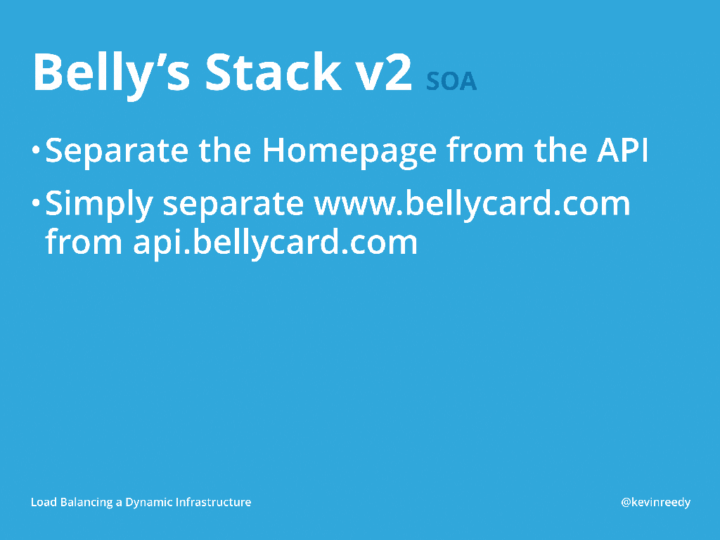 Version two of Belly's Stack separated bellycard.com from api.bellycard.com [presentation by Kevin Reedy Belly Card at nginx.conf 2014]