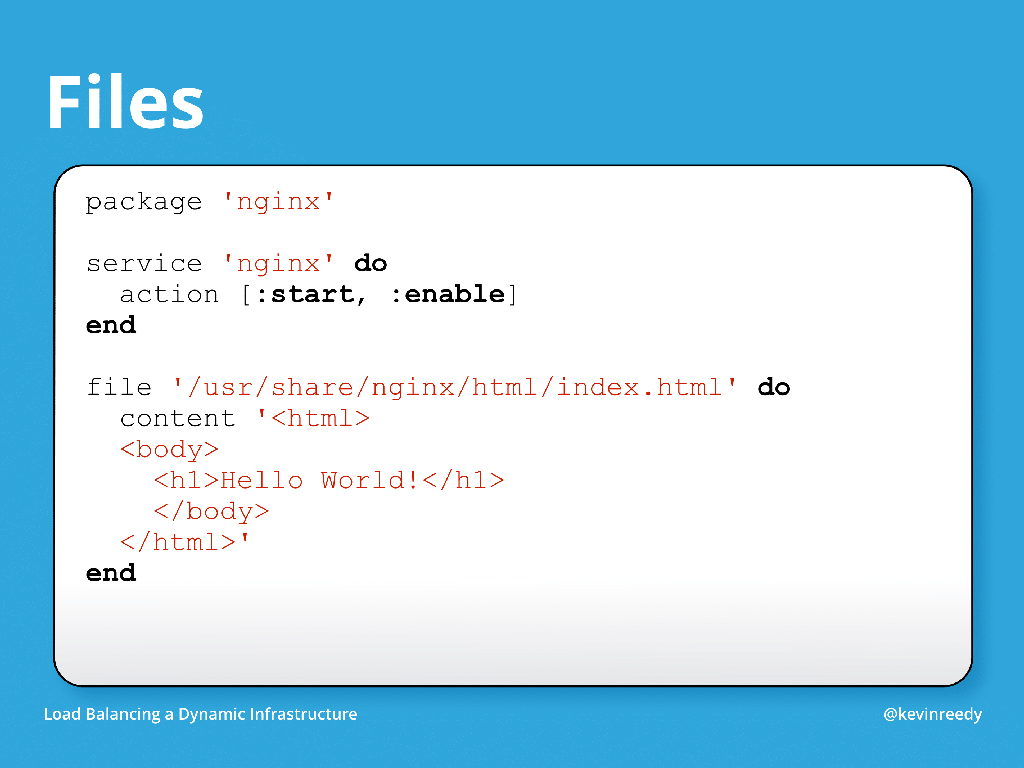 In Chef, recipes can be built into a templating system [presentation by Kevin Reedy of Belly Card at nginx.conf 2014]