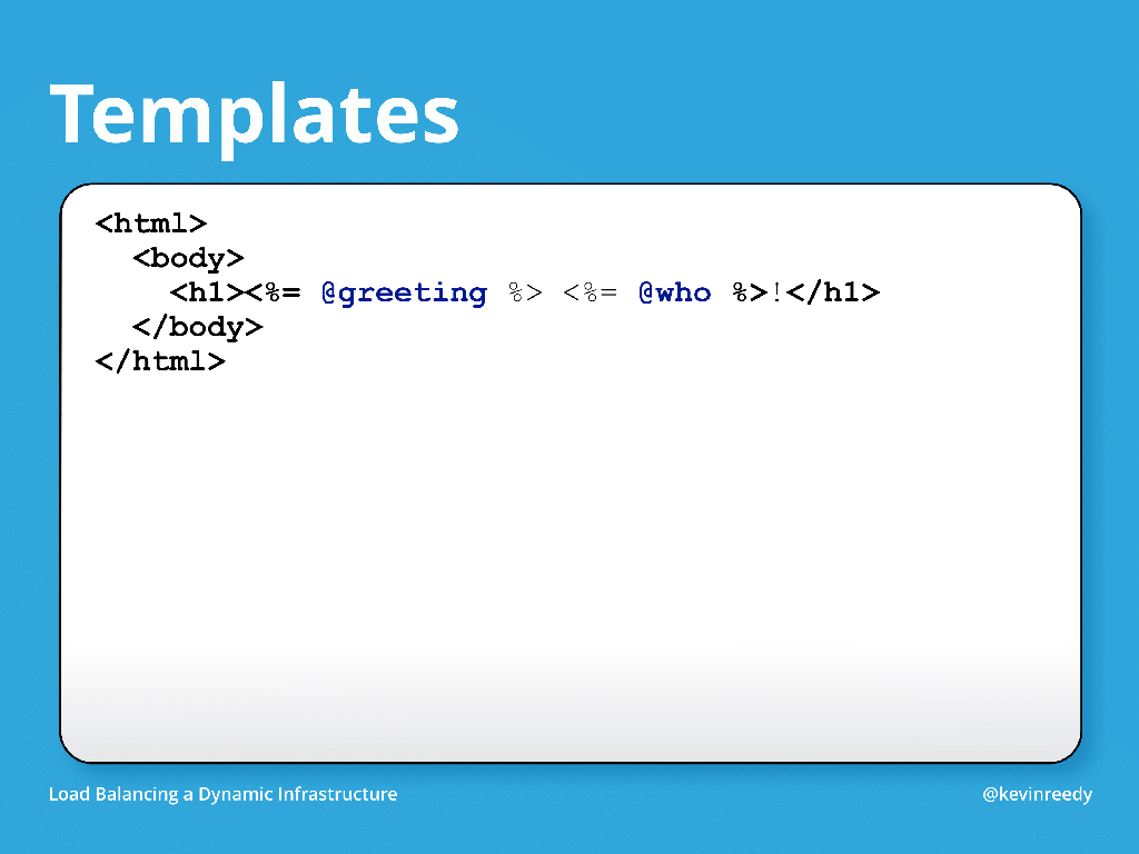 Chef templates are used to write content automatically [presentation by Kevin Reedy of Belly Card at nginx.conf 2014]