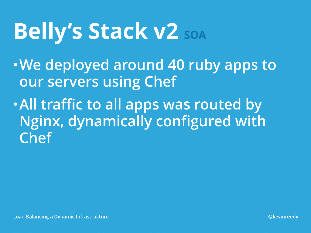 In version two of Belly Card's stack, they deployed around 40 Ruby applications to their servers using Chef [presentation by Kevin Reedy of Belly Card at nginx.conf 2014]