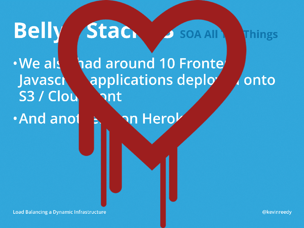 Version three of Belly Card's stack was affected by the Heartbleed bug [presentation by Kevin Reedy of Belly Card at nginx.conf 2014]