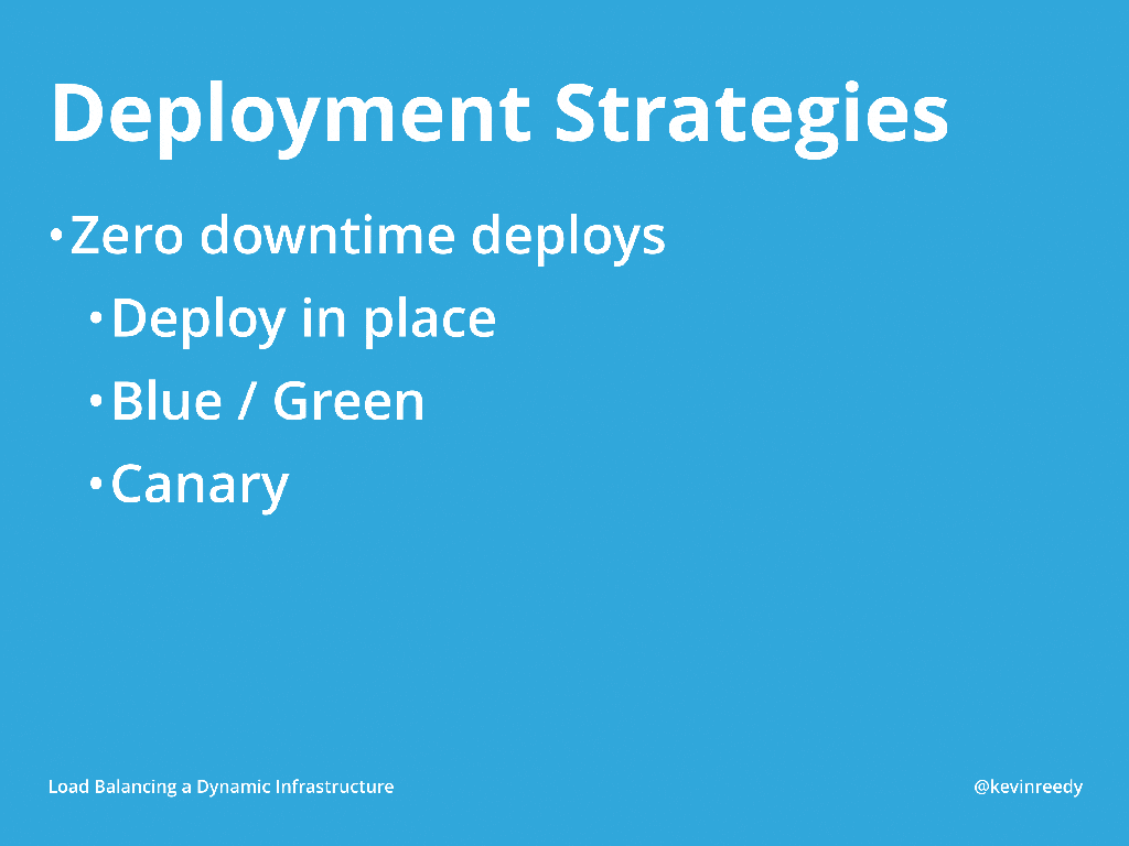 There are many deployment strategies, such as deploying in place, blue/green deployments, and canary releases [presentation by Kevin Reedy of Belly Card at nginx.conf 2014]
