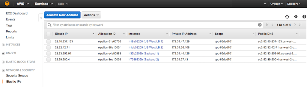 Screenshot showing the elastic IP addresses assigned to four AWS EC2 instances during configuration of global server load balancing (GSLB) with NGINX Plus