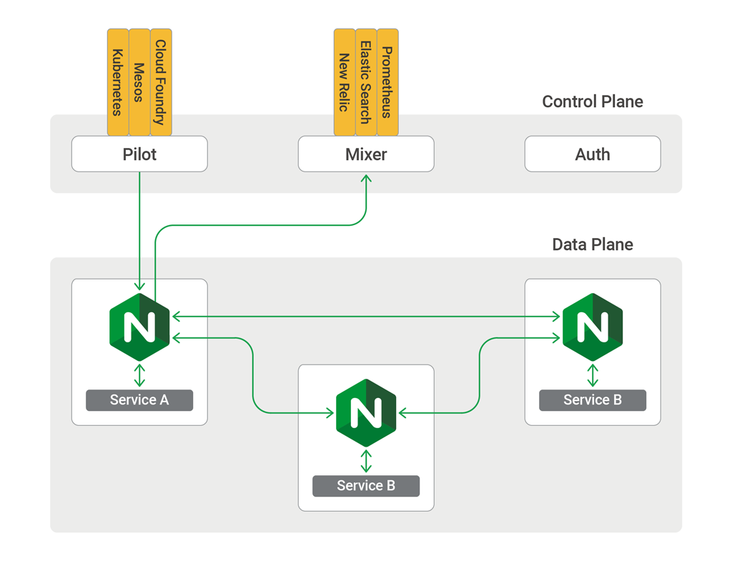 An Istio control plane, with Pilot, Mixer, and Auth, and data plane, with microservice instances and a sidecar proxy per instance