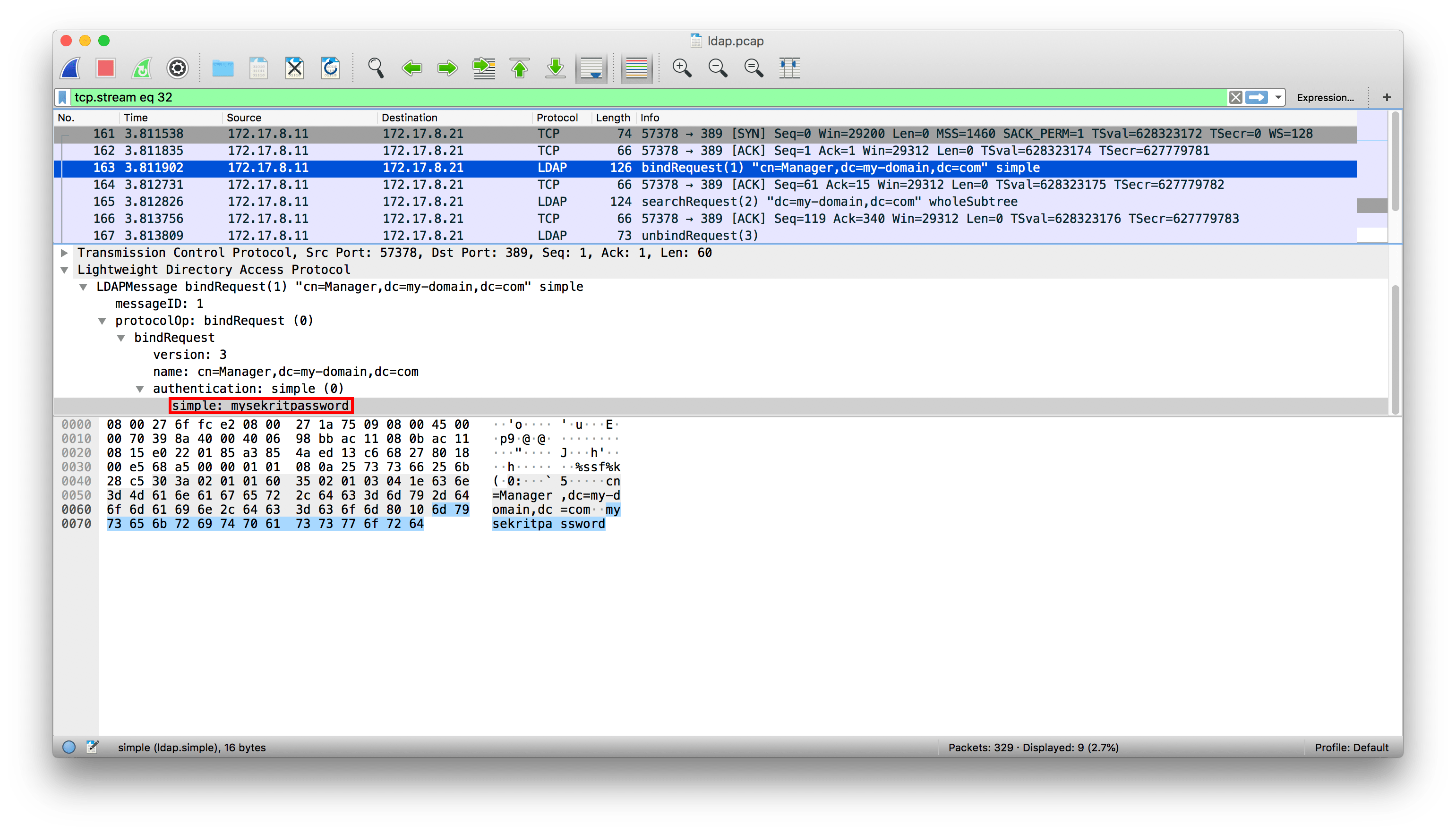 Results from using Wireshark to capture server-to-server transmissions, with the LDAP credentials in cleartext.