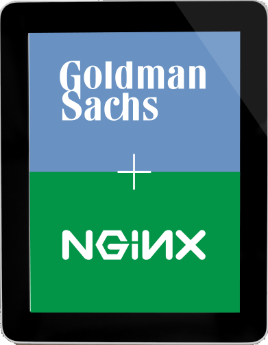 Computer tablet featuring Goldman Sachs and NGINX logos